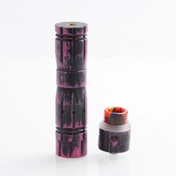 Aftermath V2 Style Mechanical Mod + Redemption Style RDA Kit - Black Purple, Brass + Stainless Steel, 1 x 18650, 24mm Diameter