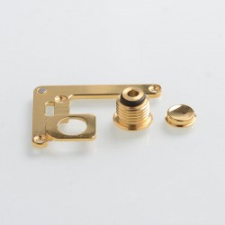 SXK 510 Connector + Button + Button Plate Set for SXK Bantam BB Mini Box Mod Kit - Gold, Stainless Steel (3 PCS)