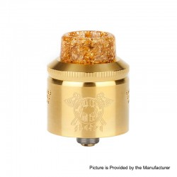 Authentic MECHLYFE x AmbitionZ Vaper Slatra Mesh RDA Rebuidable Atomizer w/ BF Pin - Gold, Stainless Steel, 25mm Diameter