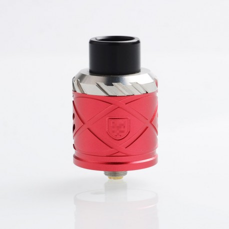 RH X Style RDA Rebuildable Dripping Atomizer w/ BF Pin - Red, Stainless Steel + Aluminum, 24mm Diameter