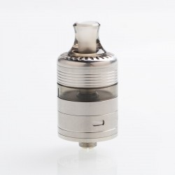 Whisper Style RDTA Rebuildable Dripping Tank Atomizer - Silver + Translucent Black, Stainless Steel + PC, 2ml, 22mm Diameter