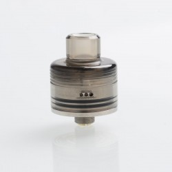 Whisper Style RDA Rebuildable Dripping Atomizer - Silver, Stainless Steel + Black PC, 22mm Diameter