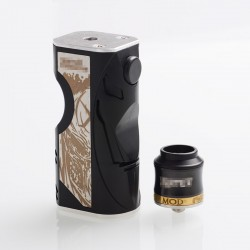 Vertex Style Mechanical Box Mod + RDA Rebuidable Dripping Atomizer Kit - Black, Aluminum Alloy + SS + POM, 1 x 18650
