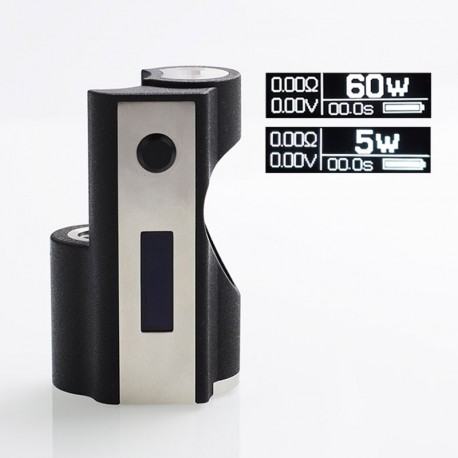 SXK STH Style 60W VW Variable Wattage Box Mod - Black, PC + Stainless Steel, 1 x 18650, 5~60W