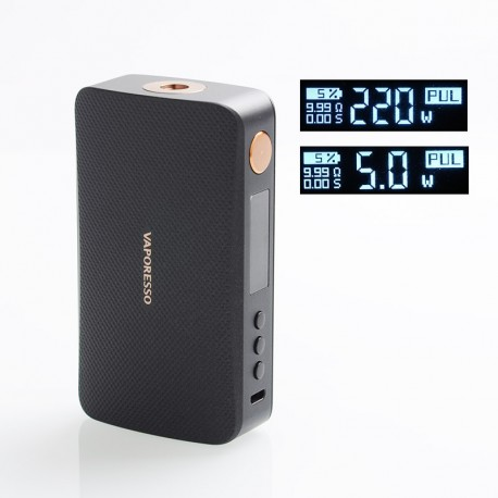 Authentic Vaporesso GEN 220W TC VW Variable Wattage Box Mod - Black, 5~220W, 2 x 18650