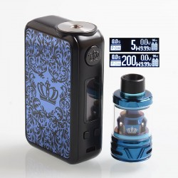 [Ships from HongKong] Authentic Uwell Crown 4 IV 200W TC VW Box Mod + Crown 4 IV Tank Kit - Blue, 5~200W, 2 x 18650, 6ml