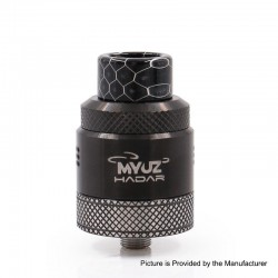 Authentic Myuz Hadar RDA Rebuildable Dripping Atomizer w/ BF pin - Black, 25mm Diameter