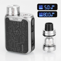 [Ships from HongKong] Authentic Vaporesso Swag 80W TC VW Box Mod + NRG SE Tank Kit - Silver, 5~80W, 1 x 18650, 4.5ml, 22mm Dia
