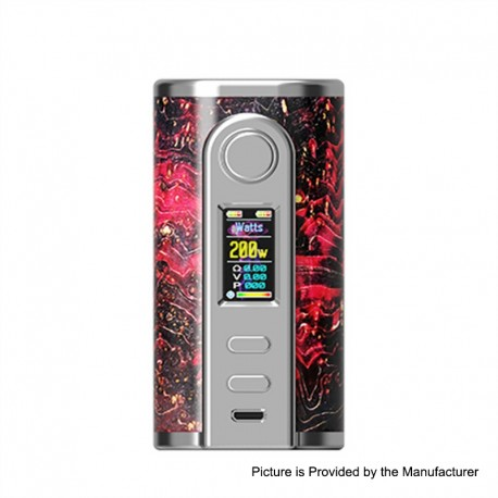 Authentic Ultroner GAEA 200W VW Variable Wattage Box Mod - Red, Stainless Steel + Stabwood, 5~200W, 2 x 18650
