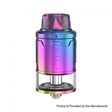 Authentic Vandy Vape Pyro V3 RDTA Rebuildable Dripping Tank Atomizer w/ BF Pin - Rainbow, Stainless Steel, 2ml, 24mm Diameter