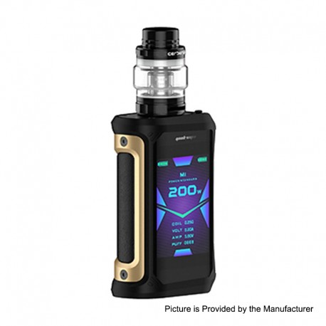 Authentic GeekVape Aegis X 200W TC VW Variable Wattage Mod w/ Cerberus Tank Kit - Gold Black, 5~200W, 5.5ml, 2 x 18650