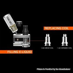 Authentic DOVPO Peaks Pod System Replacement Pod Cartridge w/ 1.4ohm Ceramic MTL Coil + 0.8ohm Mesh Coil - 2ml