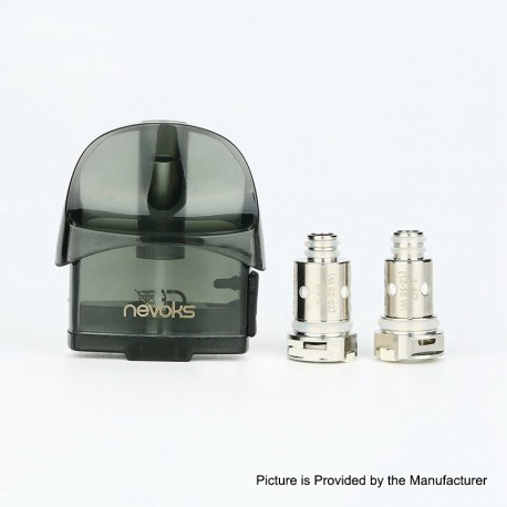 Authentic Nevoks Lusty Pod System Replacement Pod Cartridge w/ 0.6ohm Mesh Coil + 1.4ohm Regular Coil - Black, 3.3ml