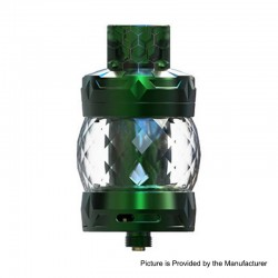 Authentic Aspire Odan Sub Ohm Tank Vape Atomizer - Emerald, Stainless Steel + Pyrex Glass, 5ml / 7ml, 28mm Diameter