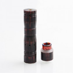 Aftermath V2 Style Mechanical Mod + Redemption Style RDA Kit - Black Red, Brass + Stainless Steel, 1 x 18650, 24mm Diameter