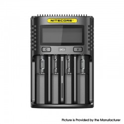 Authentic Nitecore UMS4 USB Charger for 10440, 14500, 14650, 16500, 1634(RCR123), 18350, 18490, 18500, 18650 Battery - Black