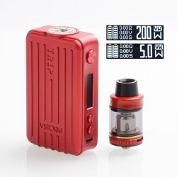 Authentic Vapor Storm Trip 200W Suitcase TC VW Variable Wattage Box Mod + Trip Tank Kit - Red, 5~200W, 2 x 18650, 2ml / 6ml