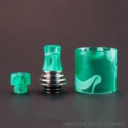 Authentic Vapefly Brunhilde MTL RTA Replacement Short Drip Tip + Long Drip Tip + Tank Tube - Green, PMMA + Stainless Steel