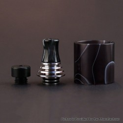 Authentic Vapefly Brunhilde MTL RTA Replacement Short Drip Tip + Long Drip Tip + Tank Tube - Black, PMMA + Stainless Steel