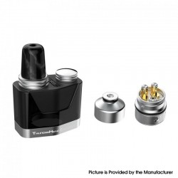 Authentic THC Thunderhead Creations Replacement Pod Cartridge w/ RBA Coil for Tauren X Pod Kit - Black, 2.0ml