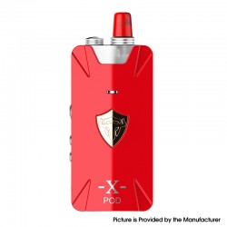 Authentic THC Thunderhead Creations Tauren X 25W 1000mAh Mesh Pod System VW Box Mod Kit - Red, Aluminium Alloy + PC, 2ml, 5~25W
