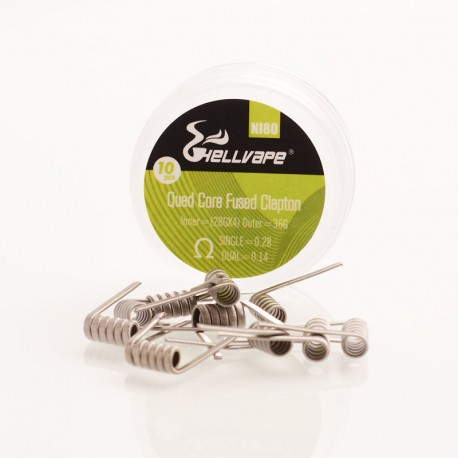 Authentic Hellvape Ni80 Quad Core Fused Clapton Heating Resistance Wire - 28GA x 4 + 36GA, 0.28ohm / 0.14ohm (10 PCS)