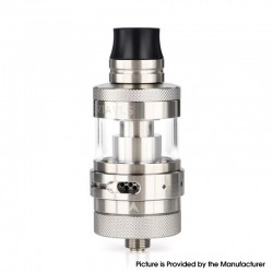 Authentic Steam Crave Aromamizer Lite V1.5 MTL RTA Rebuildable Tank Atomizer - Silver, Stainless Steel + Glass, 23mm Diameter