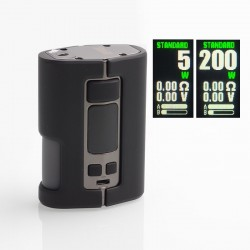 Authentic Wotofo Dyadic 200W VW Variable Wattage Squonk Box Mod - Black, Zinc Alloy + Velvet Rubber Coating, 5~200W, 2 x 18650