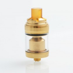 Reload Style MTL RTA Rebuildable Tank Atomizer - Gold, Stainless Steel + Glass, 2ml, 22mm Diameter