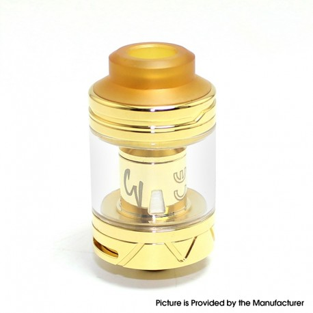 Authentic Cool Vapor Lava 1.5 Sub-Ohm Tank Atomizer Clearomizer - Gold, Stainless Steel + Glass, 4.6ml, 24mm Diameter