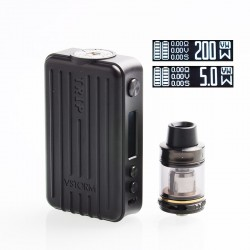 Authentic Vapor Storm Trip 200W Suitcase TC VW Variable Wattage Box Mod + Trip Tank Kit - Black, 5~200W, 2 x 18650, 2ml / 6ml