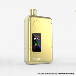 Authentic Wellon Beyond AIO 35W VW Box Mod Pod System Starter Kit - Gold, Zinc Alloy + PCTG, 2ml, 5~35W, 1 x 18650