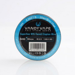 Authentic Vandy Vape Superfine MTL Fused Clapton Ni80 Heating Resistance Wire - 32GA x 2 + 38GA, 5.35ohm / Ft (10 Feet)