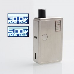 Authentic BMI Micro 30W 1200mAh VW Box Mod Pod System Ultra Portable Starter Kit - Silver, SS, 2ml, 5~30W
