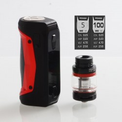 [Ships from HongKong] Authentic GeekVape Aegis Solo 100W TC VW Mod + Cerberus Tank Kit - Red, 5~100W, 1 x 18650, 5.5ml, 0.3 Ohm