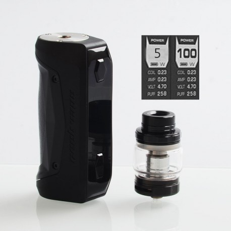 [Ships from HongKong] Authentic GeekVape Aegis Solo 100W TC VW Mod + Cerberus Tank Kit - Black, 5~100W, 1 x 18650, 5.5ml, 0.3Ohm