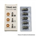 Authentic GTRS Triad AIO Pod Kit Replacement MTL Dual Coil Head - Silver, 1.0ohm (5 PCS)