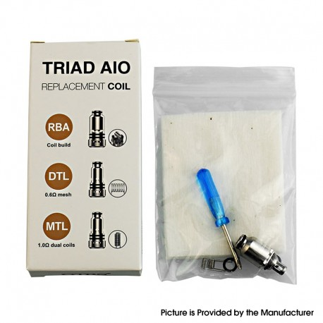 Authentic GTRS Triad AIO Pod Kit Replacement RBA Coil Head - Silver, 0.6ohm