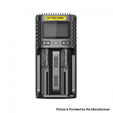 Authentic Nitecore UM2 USB Charger for 10440, 14500, 14650, 16500, 1634(RCR123), 18350, 18490, 18500, 18650 Battery - Black