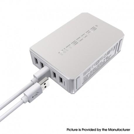 Authentic Nitecore UA55 5-Port QC Multiple Protections USB Desktop Adapter - Silver, Fire Retardant PC, EU Plug