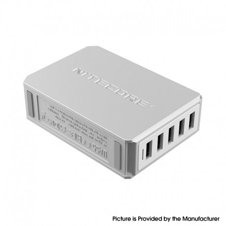 Authentic Nitecore UA55 5-Port QC Multiple Protections USB Desktop Adapter - Silver, Fire Retardant PC, US Plug