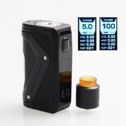 Authentic GeekVape AEGIS 100W TC VW Squonk Box Mod + Tengu RDA Tank Kit w/ BF Pin - Black, 5~100W, 1 x 18650, 9ml
