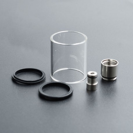 Authentic eXvape Expromizer V4 Replacement Glass Tank Tube + SS Extension Kit - Transparent + Silver