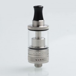 Authentic Ambition Mods Purity MTL RTA Rebuildable Tank Atomizer - Silver, 316 Stainless Steel + Glass, 2ml, 18mm Diameter