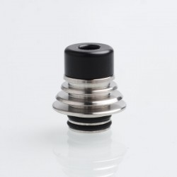 Authentic Vapefly Brunhilde MTL RTA Replacement Short 510 Drip Tip w/ Cooling Fin - Black, Delrin + Stainless Steel