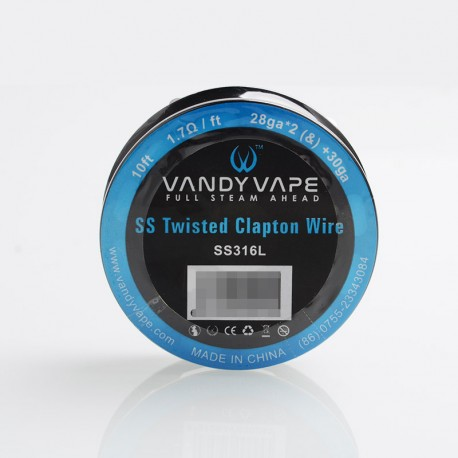 Authentic Vandy Vape SS316L Twisted Clapton Heating Resistance Wire for RBA / RTA - 28GA x 2 + 30GA, 1.7ohm / Ft, 10 Ft