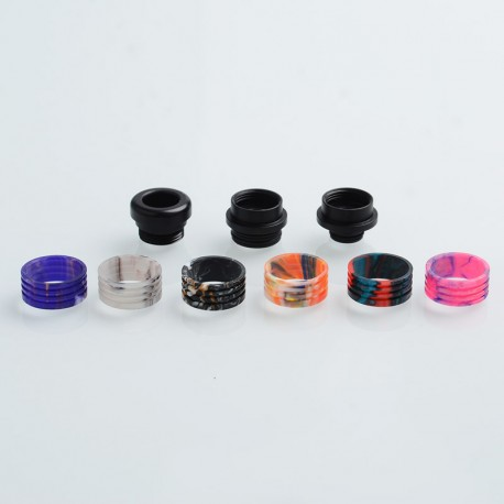 Authentic AVCT AV-D099B 12 in 1 Interchangeable 810-510 Drip Tip Set for RDA /SMOK TFV8 Tank - Black + Random Color, POM + Resin
