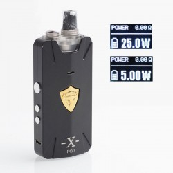 Authentic THC Thunderhead Creations Tauren X 25W 1000mAh Mesh Pod System VW Box Mod Kit - Gun Metal, Aluminium Alloy, 2ml, 5~25W