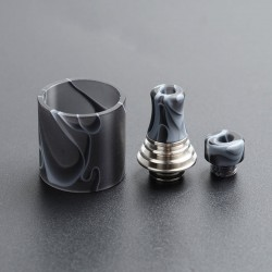 Authentic Vapefly Brunhilde MTL RTA Replacement Short Drip Tip + Long Drip Tip + Tank Tube - Black, PMMA