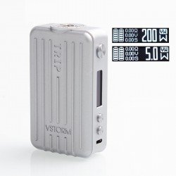 Authentic Vapor Storm Trip 200W Suitcase TC VW Variable Wattage Box Mod - Grey, 5~200W, 2 x 18650